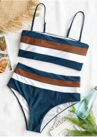 Striped Adjustable Strap Bikini Set