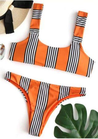 Striped Tie Sexy Bikini Set