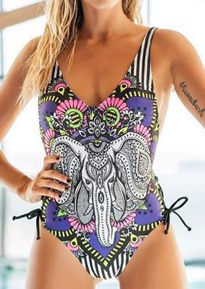 Elephant Lace Up Sexy Swimsuit