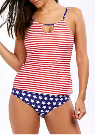 American Flag Hollow Out Tankini