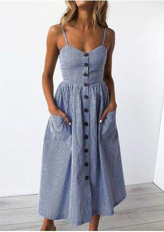 Striped Pocket Spaghetti Strap Casual Dress