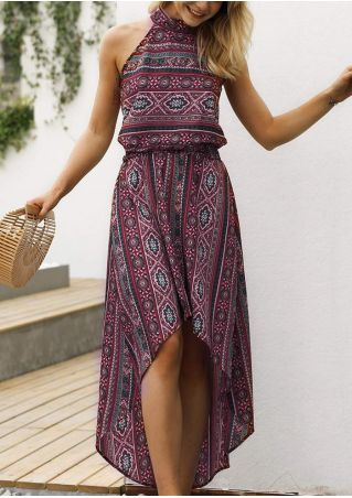 Printed Asymmetric Sleeveless Maxi Dress