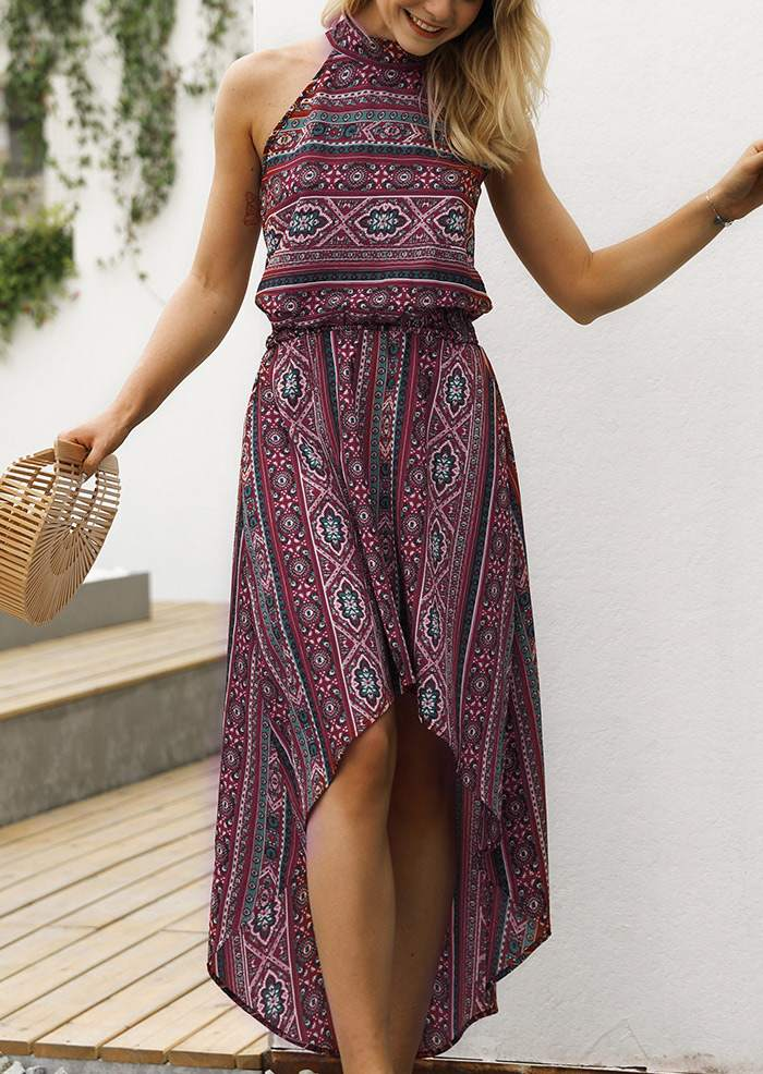 Printed Asymmetric Sleeveless Maxi Dress