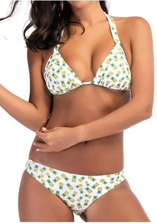 Pineapple Tie Halter Bikini Set