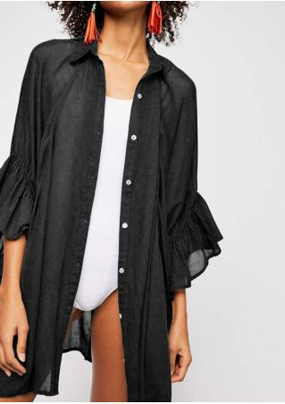 Solid Ruffled Turn-Down Collar Cover Up