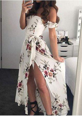 Floral Tie Slit Off Shoulder Maxi Dress