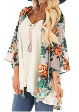 Floral Slit Three Quarter Sleeve Cardigan without Necklace