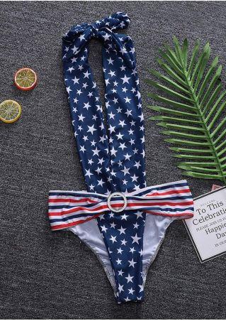 American Flag Backless Deep V-Neck Swimsuit