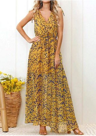 Printed Deep V-Neck Sleeveless Maxi Dress