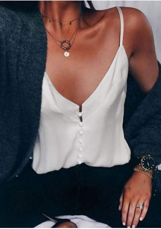 Solid Button Camisole without Necklace