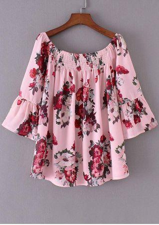 Floral Off Shoulder Flare Sleeve Blouse