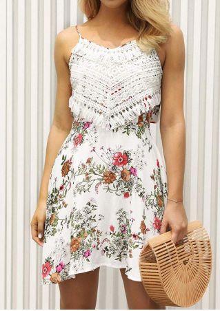 Floral Lace Splicing Spaghetti Strap Mini Dress