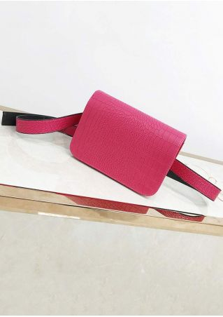 Solid PU Flap Fanny Pack