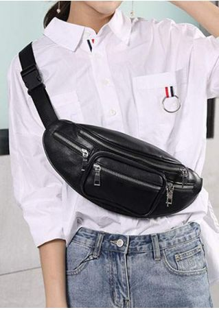 Solid PU Chain Shoulder Fanny Pack