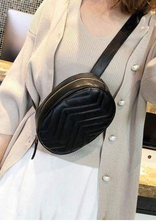Solid PU Adjustable Strap Shoulder Fanny Pack
