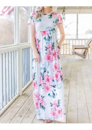 Floral Ruffled Short Sleeve Maxi Dress