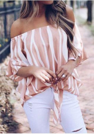 Striped Off Shoulder Tie Blouse