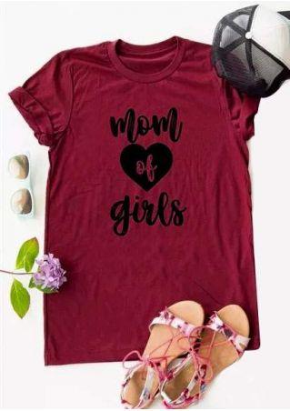 Mom Of Girls Heart T-Shirt