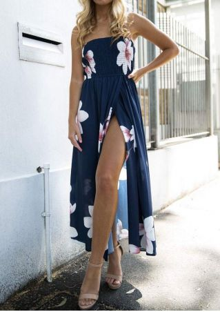 Floral Slit Strapless Maxi Dress