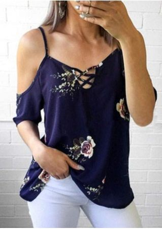 Floral Criss-Cross Cold Shoulder Blouse