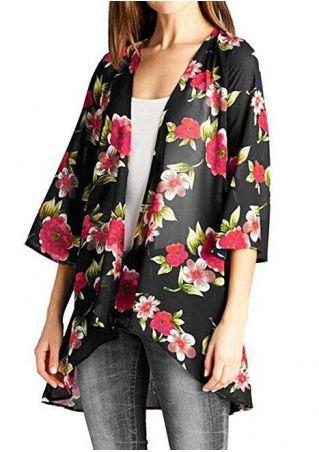 Floral Asymmetric Three Quarter Sleeve Cardigan