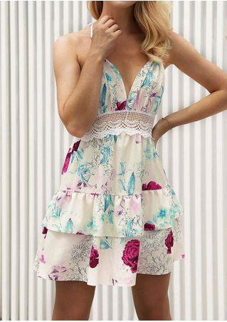 Floral Lace Splicing Layered Mini Dress