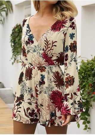 Floral Wrap Flare Sleeve Romper