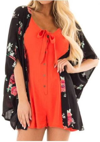 Coral Floral Batwing Sleeve Cardigan