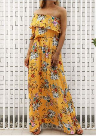 Floral Flouncing One Shoulder Maxi Dress