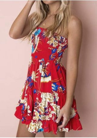 Floral Removable Strap Mini Dress without Necklace