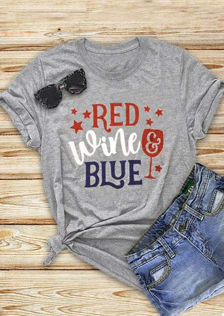 star red wine & blue t-shirt
