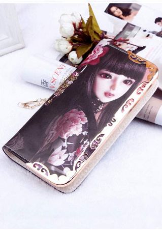 Floral Character PU Chain Clutch Wallet