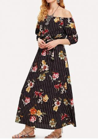 Floral Off Shoulder Maxi Dress without Necklace