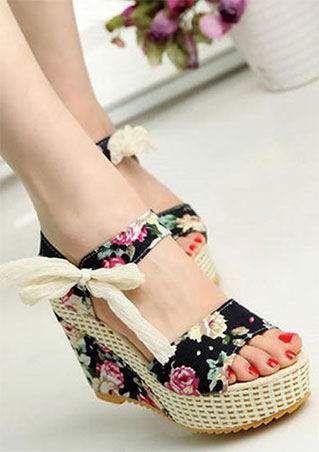 Floral Tie Wedge Sandals