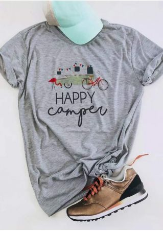 Happy Camper Flamingo Bicycle T-Shirt