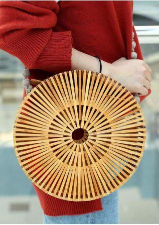 Solid Round Bamboo Shoulder Bag