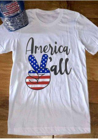 America Y'All American Flag T-Shirt