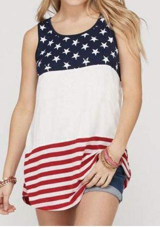 American Flag O-Neck Tank
