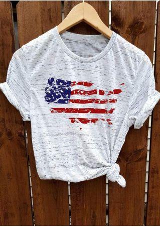 American Flag Short Sleeve O-Neck T-Shirt