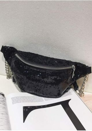 Solid Sequined Chain Adjustable Strap Fanny Pack