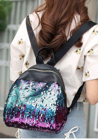PU Sequined Adjustable Strap Backpack