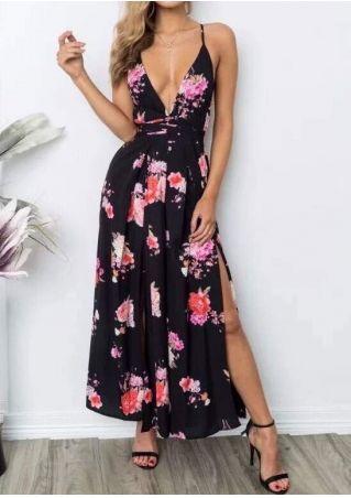 Floral Slit Deep V-Neck Jumpsuit without Necklace