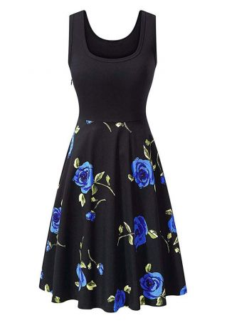 Floral Zipper Sleeveless Casual Dress