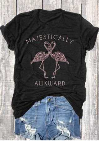 Majestically Awkward Flamingo Heart T-Shirt
