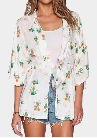 Floral Cactus Asymmetric Cardigan with Belt