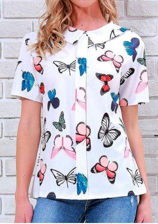 Butterfly Button Turn-Down Collar Shirt