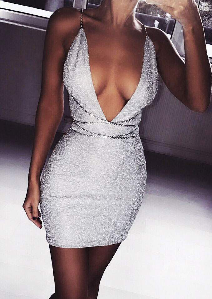 Solid Halter Deep V-Neck Bodycon Dress