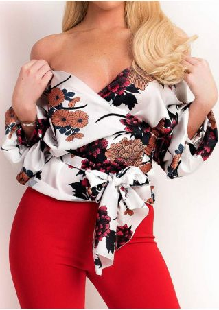 Floral Wrap Multi-Way Blouse with Belt