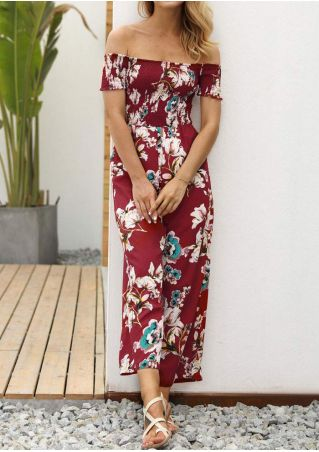 Floral Off Shoulder Short Sleeve Jumpsuit