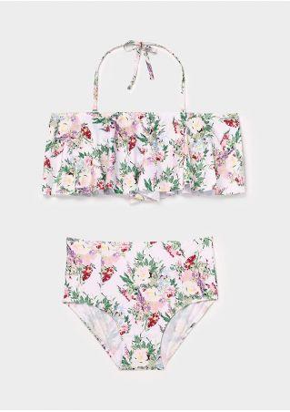 Floral Flouncing Halter Bikini Set